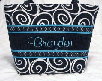Personalized Diaper Bag . personalized Tote Bag . Ebony Ironwork & Blue . Weekender / XL Tote size . monogrammed FREE . great large tote bag