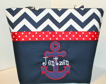 Personalized Anchor Diaper Bag . Weekender / XL . Navy Blue Chevron Red . DESIGN Your OwN . Nautical diaper bag monogrammed FREE