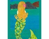 Pacific Mermaid - Collage Art Print of Mermaid in Moonlight, 8x/0 or 10x13 Art Print