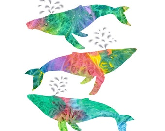 Collage Art Print: Spirit Whales - from Original Painted Paper Collage, Colorful Whale Print, 8x10 or 10x13