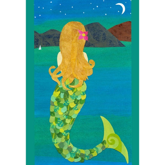 Pacific Mermaid - Collage Art Print of Mermaid in Moonlight, 8x/0 or 10x13 Art Print