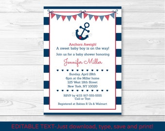 Nautical Anchor Baby Shower Invitation / Nautical Baby Shower Invitation / Editable PDF INSTANT DOWNLOAD
