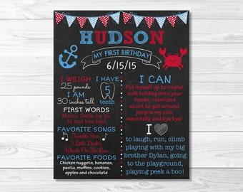 Cute Crab 1st Birthday Chalkboard Poster / Nautical Birthday / Crab Birthday / 1st Birthday Poster / Baby Boy / Photo Prop / PRINTABLE A296