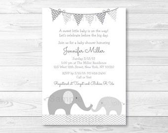Cute Elephant Baby Shower Invitation / Elephant Baby Shower Invite / Chevron Pattern / Grey & White / Gender Neutral / PRINTABLE A144