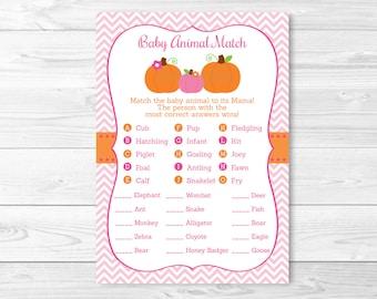 Pink Pumpkin Animal Match Baby Shower Game / Baby Animal Match / Pumpkin Baby Shower / INSTANT DOWNLOAD