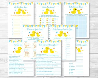 Rubber Ducky Baby Shower Games Package / Rubber Duck Shower / 8 Printable Games / Rubber Ducky Shower / INSTANT DOWNLOAD