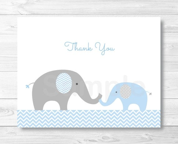Blue Elephant Chevron Thank You Card / Folded Card Template