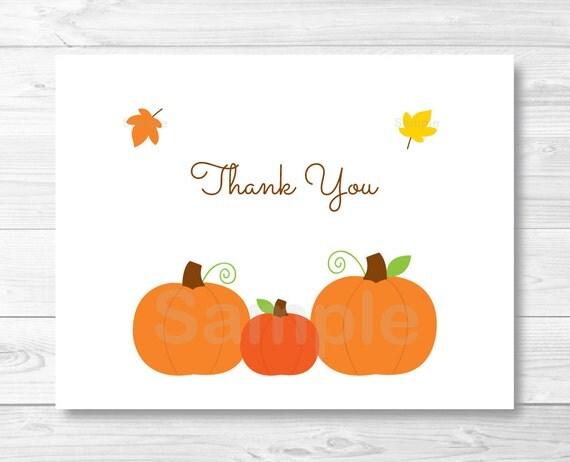 cute pumpkin thank you card template    pumpkin baby shower