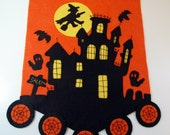 Hand Stitched HAUNTED HOUSE HALLOWEEN Wool-Felt Penny Rug Table Runner - Primitive - folk Art - Home Decor - Halloween Decor - Fiber Art