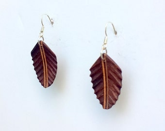 Handcarved Black Walnut and Maple Wood  Leaf / feather  Earrings  J150515