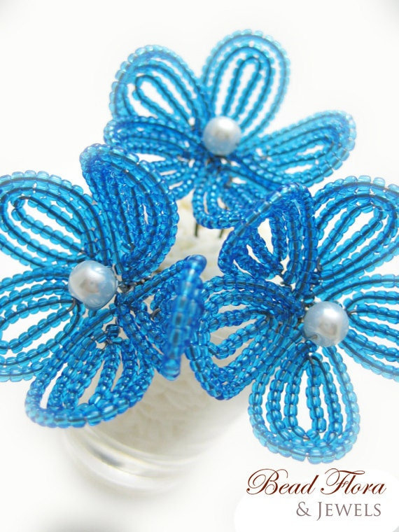 As seen on AOL's Aisle Dash-- hair pins, aqua turquoise blue flower blossom bobbies-  for brides, bridesmaids, flower girls