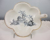 Toile Bon Bon Dish from Limoges France - Blue Toile Countryside Image - Handle