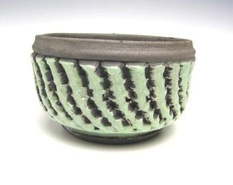 Cactus planter Succulent planter pot Green crackle raku bonsai planter ceramic pottery herb planter pot 5 3/4 x 3 1/2  scp29