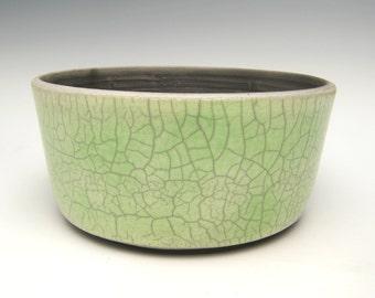 cactus planter succulent planter pot green crackle raku bonsai planter ceramic pottery herb planter pot 6 3/4 x 3 1/4  Free shipping n-3