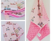 BABY GIFT SET / Boppy cover, mini blanket and Burp Cloth / Bamboo cotton print with soft minky / Modern baby shower gift