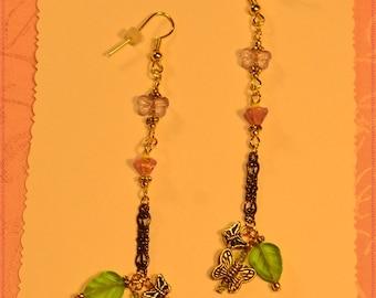 Pink Flower,Purple Butterfly,Goldtone Filigree Earrings