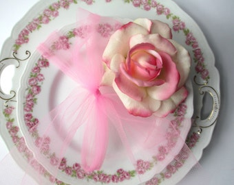 Vintage Vienna Austria Pink Green Floral Cake Plate and Three Dessert Plates - Shabby Chic