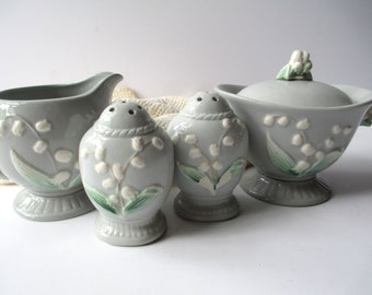 Vintage Occupied Japan Gray Lily of the Valley Cream Sugar Salt Pepper Shaker Set of Four