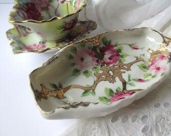 Vintage Dish Set Pink Rose Porcelain Serving Set of Three