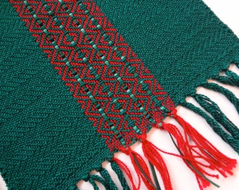 handwoven Christmas red and green table runner small