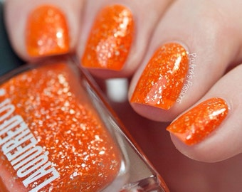 Tahiti// Handmade Neon Orange Nail Lacquer// Sterling Silver Flake// Cruelty Free