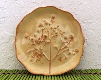 Ceramic Tree of Life - Soap Dish - Trinket Dish - with Garden Flowers - Handmade Pottery - Gold