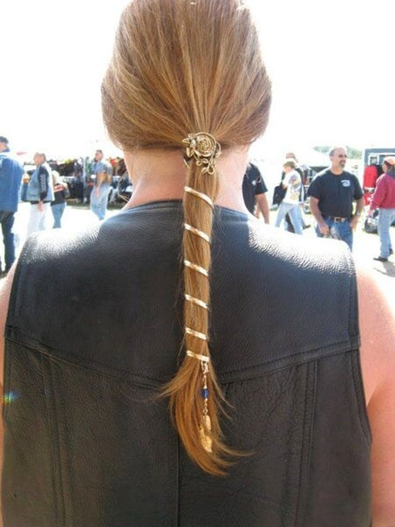 17 Ponytail Wrap in Gold Fashion Renaissance and Biker