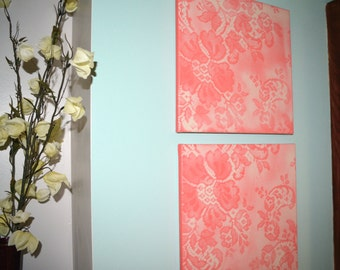 Coral Lace, Vintage Wallpaper Inspired Original Acrylic Painting
