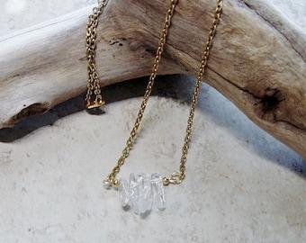 Quartz Bead Necklace,Gold Chain Necklace, Beaded Gold Chain Necklace, Minimalist, Clear Quartz Bead Necklace