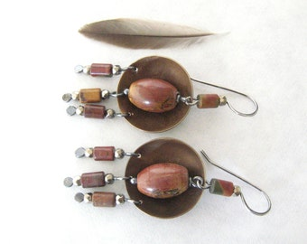 boho dangle earrings, rustic stone earrings, mixed metal earrings, silver and brass earrings, oxidized jewelry