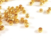 200 Gold Plated Crimp Beads Barrel Bead Brass 2mm - 3 grams - F4022CB-G200