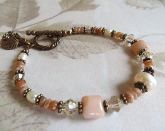 Sunstone Bracelet With Pearl, Adventurine & Copper, Gift For Her