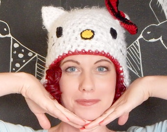 Hello Kitty Inspired Hat with Ear Flaps