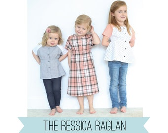 Ressica Raglan top and dress PDF sewing pattern