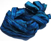 Blue Depths  - Hand Painted Artist Dyed Batik Ribbon Strings - OOAK  - FireandFibers Beads Serged Sewn