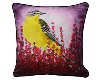 XL Cushion cover for throw pillow with bird - Yellow Wagtail - 24x24inch // 60x60cm