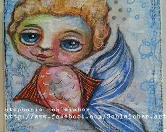 Whimsical Merboy 4in x4in Original Painting