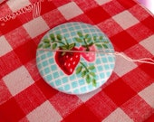 Strawberry Fabric Needle Minder Needle Keeper Magnetic Needle Keep Berry Needle Keep Berry Pin Keep Embroidery Supplies Sewing Supplies