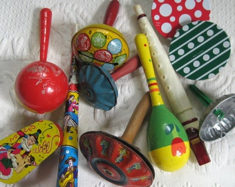 Tin Noisemakers . Lot of 11 . 11 tin Noisemakers . Vintage Party Favors 30s-70s