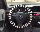 Custom Black and White Stripes with Big Gold Dots Steering Wheel Cover