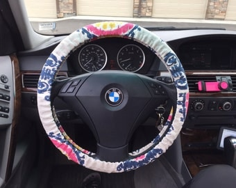 Ikat Canvas Steering Wheel Cover