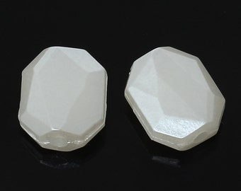 Faceted Rectangle, Octagon Acrylic Beads, 12x10mm, Pearl WHITE - 20x