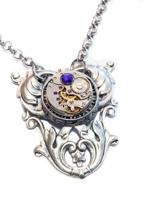 Steampunk Neo Victorian Jewellery - Necklace - Antique Watch Movement and heliotrope swarovski crystal