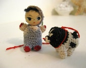 Vintage Crocheted Doll Miniature Doll House 1930s Handmade Toy Small Tiny with Dog