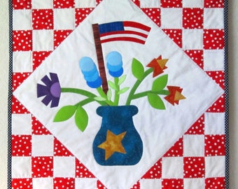 FLAGS AND FLOWERS Originial Quilt from Quilts by Elena Wall Hanging