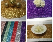 """SEQUINS CENTERPIECE SQUARES, Rounds, Placemats Colors  Sequin  Square,  Round 12, 16, 20""""  Silver, Gold, Purple, Red Turquoise Wedding"""