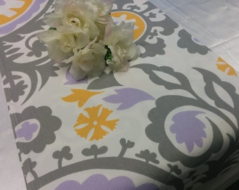 LAVENDER DAMASK RUNNER - large damask print lavender, lilac, light purple yellow, grey and white Table Runner Wedding Bridal Showers Parties