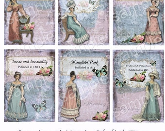 INSTANT DOWNLOAD  - Jane Austen Books - 2.5 x 3.5 inches - Printable  Digital Collage Sheet - Down Load Images - Tags