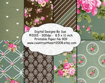 Instant Download  8.5 x 11 inch  Paper Pack No. 909 -  Printable Digital Papers - Digital Download Scrapbooking