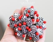 1 Bunch of Vintage Style Miniature Frosted Pine Cone and Berries Clusters